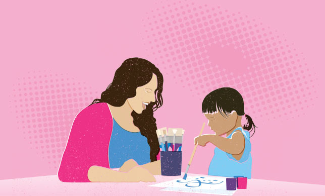 Illustration of art teacher with child