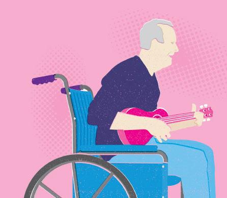 Illustration of man playing guitar